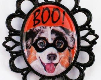 Halloween Australian Shepherd Aussie Original Art Pin