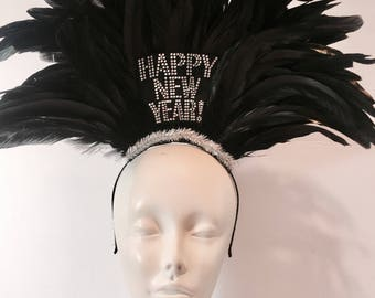 NYE hat- Happy New Years- NYE headdress -Flapper- New Year's Eve Headpieces - NYE hair accessory- Black headpiece