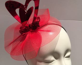 Red Fascinator- Heart Headband- Valentines Fascinator- Derby hat- Hat-Heart Headpiece- Valentines Day