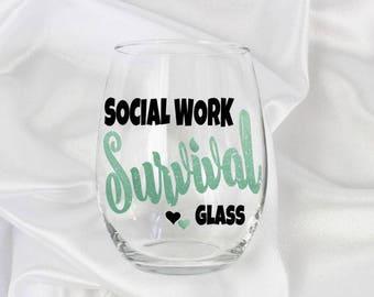 Social worker gift, social work gifts, social work cup, Social Work Graduation, Social Work Gift, Social Work glass, Gift for Social Worker