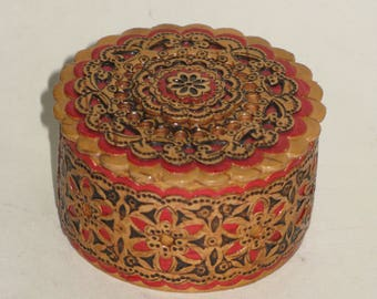 Vintage Russian Boho Jewelry Box Elaborately Carved Aged Patina Birch Trinket Box Decorated with Red and Black