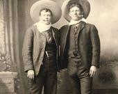 Cowboy Buddies Bromance Antique Photo Pistol, Knife Clifton, Arizona