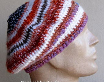 Pink and orange striped hat, eco-friendly and ethical, mixed