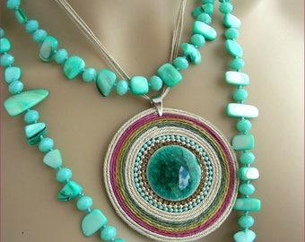 Turquoise/ceramic pendant necklace /sautoir Blue Lagoon - shell, rope, beads