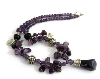 Gemstones - Amethyst necklace and glass - Bohemian trend
