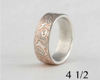 Mokume gane band, size 4 1/2, silver and copper, #60.