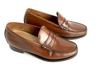 Retro Men's Leather Timberland Brown Penny Loafers 9.5 D, Men's Retro Leather Mahogany Penny Loafers 9.5 D, Bergundy Men's Leather Shoes