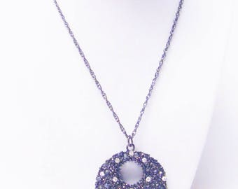 Round Black Donut Pendant w/Crystal Rhinestones Necklace