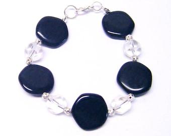 Asymmetrical Black Czech Glass Beaded Bracelet