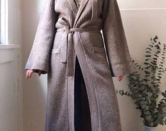 Bohemian Wool Robe Midi Hooded Cardigan - Size Small Medium