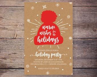 Printable Holiday Party Invitation, Christmas Party Invite, Holiday Party Invite, Printable Invitation, Print at Home Invites