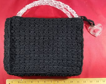 Vintage 1950s Black Crocheted Purse with Twisted Lucite Handles