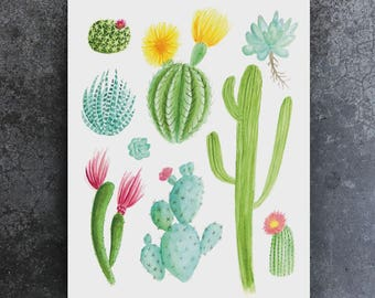 8x10 Printable Cactus Botanical Watercolor Painting