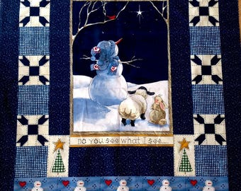 Christmas Fabric Panel Snowman Sheep Bunny Daisy Kingdom Quilting Sewing