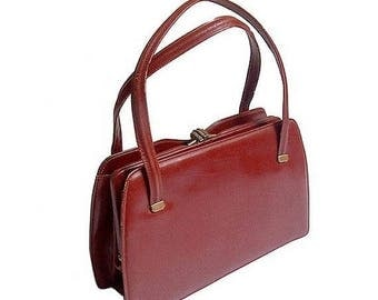 1940 french HANDBAG red brown  parisian leather