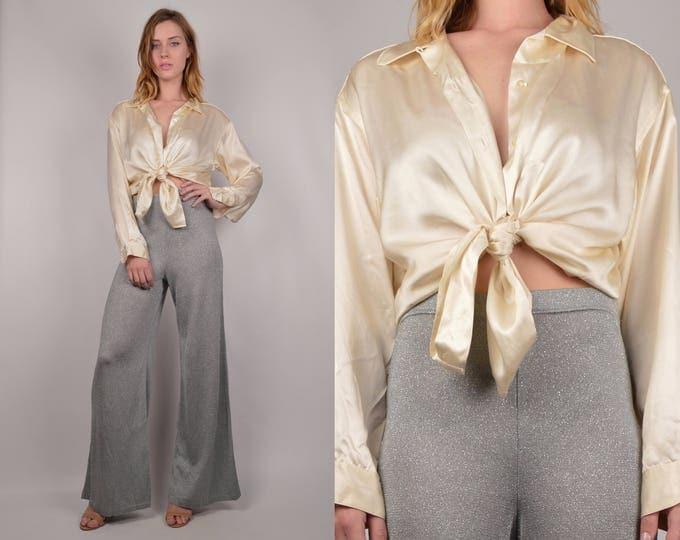 Cream Silk Vintage Button Down Shirt