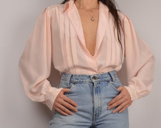 Vintage Blush Pleated Blouse