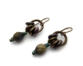 Textured Brass and Czech Glass Bead Earrings, Czech Glass Bead Brass Earrings, Niobium Ear Wires, Glass Donut Bteads,