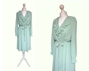 Vintage 70's Laura Phillips Dress | Soft Green Floaty Georgette Ruffle Dress | Studio 54 Disco Era Dress
