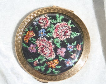 KIGU Vintage Petit Point Floral Powder Compact Mirror
