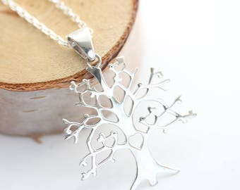 Silver Tree of life necklace. sterling silver tree with 4 birds on the branch. Tree of life Jewelry. Family tree, Mothers necklace.