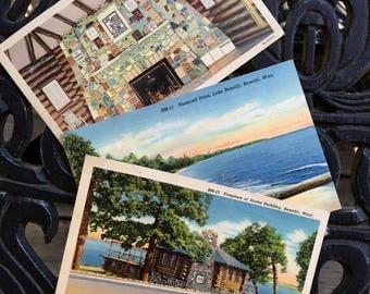 Vintage Postcards, Bemidji, Minnesota Souvenir Postcards, Fireplace of States, Cabin, and Lake