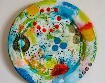 handpainted wooden plate, abstract, interior