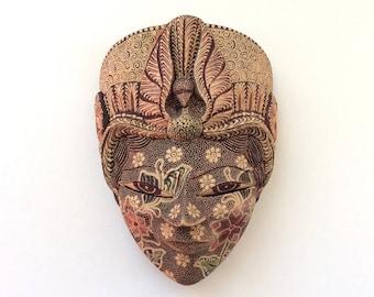 Indonesian Art Batik Wall Mask, Painted Carved Wood, Artisan Designed Face