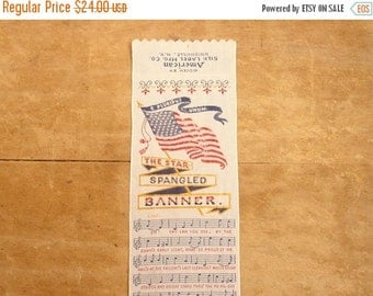 "ON SALE vintage stevengraph ""star spangled banner"" bookmark by american silk label mfg"