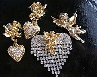 Angel Cherub Brooch Earring Vintage Romance Lot, Marcel Boucher Goldtone, Vintage Rhinestone Fringe Brooch, Cupid Heart Pierced Drops
