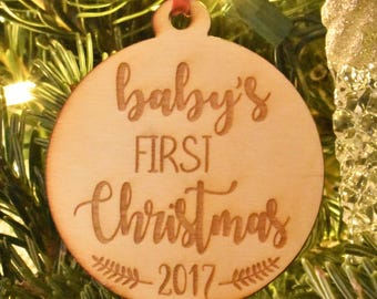 Baby's First Christmas Ornament, Wood Engraved Ornaments, First Christmas