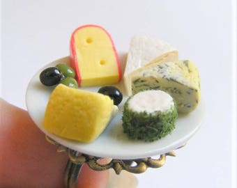 Food Jewelry, Cheese Platter Ring, Miniature Food Ring, Cheese Ring, Food Jewelry, Mini Food, Cheese Lover Jewelry, Cheese Plate Ring Kawaii