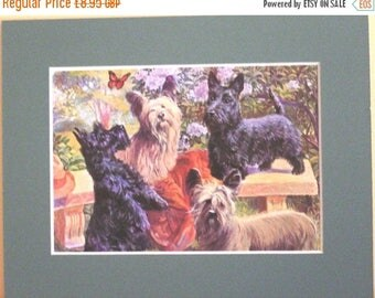 SALE Vintage Mounted 1958 Edward Herbert Miner print Scottish terriers & Silky-haired skyes dog plate print Unique Christmas Thanksgiving gi