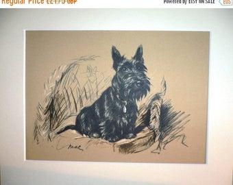 SALE SCOTTISH TERRIER Signed mounted 1936 Lucy Dawson Creenagh Scottie terrier dog plate print Unique birthday anniversary celebration gift