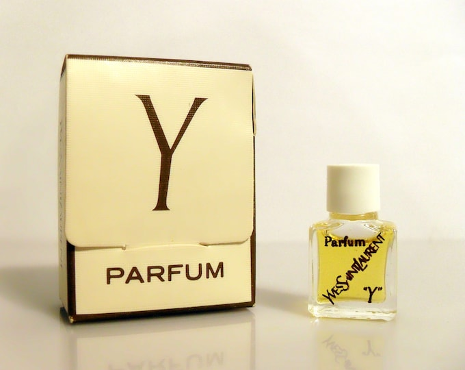 Vintage 1970s Y by Yves Saint Laurent 1/30 oz Pure Parfum Micro Miniature Mini and Box PERFUME