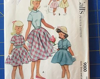 McCalls 9000 - Vintage Girls Dress and Jacket Pattern - 1952 Pattern - Size 8