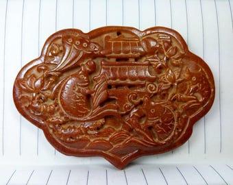 Antiqued Jade Pendant fish leaping over the Dragon Gate Amulet Antique Design Longevity lock Talisman