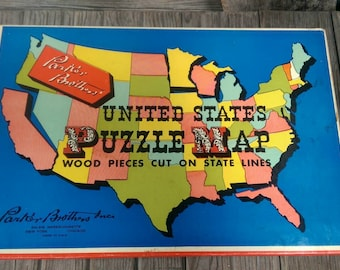 Vintage Parker Brothers Inc United States U S Puzzle Map Wooden Pieces Complete With Original Box
