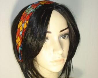 Vintage Multi Coloured Hair Scarf - Small Bright Hair Tie Band - Womens Hair Accessories 1970s