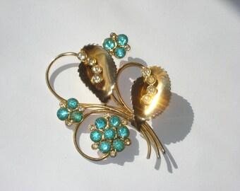 Vintage Rhinestone Brooch Gold Tone Blue Flower Pin Retro Costume Jewelry 1960s