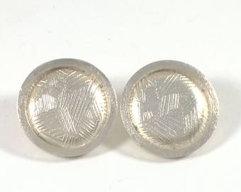 Vintage Sterling Silver Round Earrings - Pierced - Retro Classic Jewelry 925