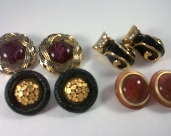 Clip on Earrings Lot - Four Pairs Oversized Black Burgundy Gold Clip On -  4 Retro Fashion Jewelry 1980s