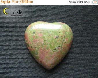 SALE Unakite Natural Green Red heart stone cabochon 28x30x6mm (B)