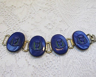 Art Deco Bracelet Egyptian Revival wide blue links