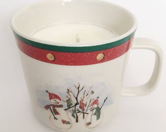 Repurposed Snoman Holiday Mug Cranberry Scented Soy Candle/ Christmas Candle/ Winter Candle