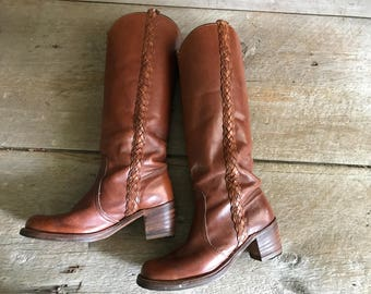 Frye Brown Leather Riding Boots, Braided, Size 7, 7.5 US Women