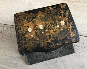 French Chinoiserie Stamp Box, Japanned Papier Mache Hand Painted Black Lacquer Gold Gilt Floral Garden Design