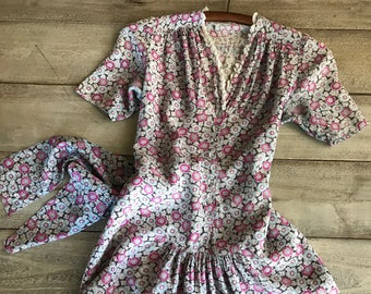 1940s French Floral Tea Dress, Printed Cotton Silk, Antique Retro WWII Period Clothing