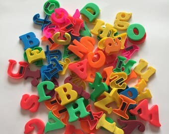 Magnetic Plastic Alphabet Letters Great for Mixed Media, Altered Art, Kid's Crafts, etc.