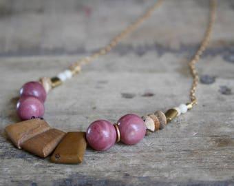 Bib necklace, Statement bib necklace, Beaded bib necklace, Statement beaded necklace, Large beads statement necklace, Pink rhodonite jewelry